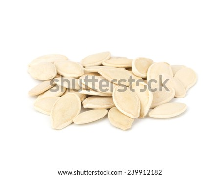 Pumpkin seeds isolated on white background close-up #239912182