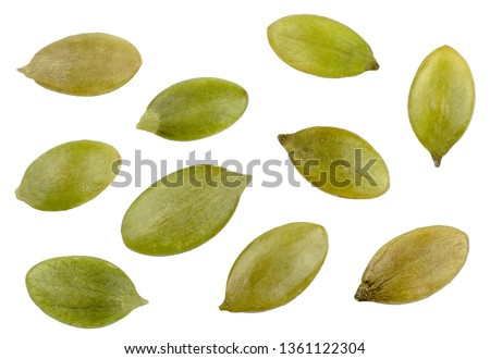 Pumpkin seeds isolated on white, top view ストックフォト ©