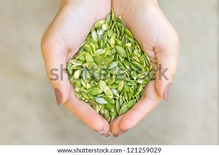 Pumpkin seeds\' kernel in woman hands