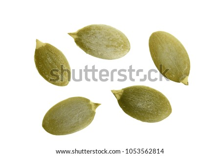 Pumpkin seeds or pepitas, isolated on white background. Top view. Flat lay. Foto stock ©