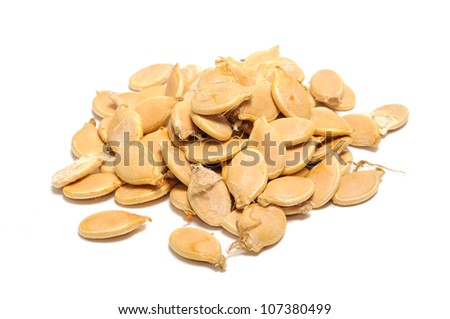 Pumpkin Seeds (Pepitas) Isolated on White Background
