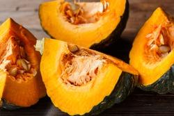 Pumpkin slices with seeds