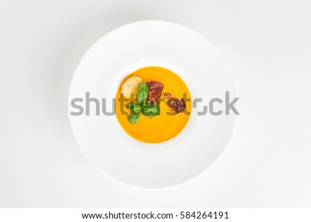 pumpkin soap on white plate, top view, isolated #584264191