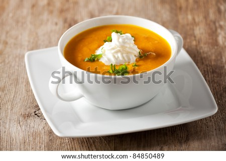 pumpkin soup in a bowl