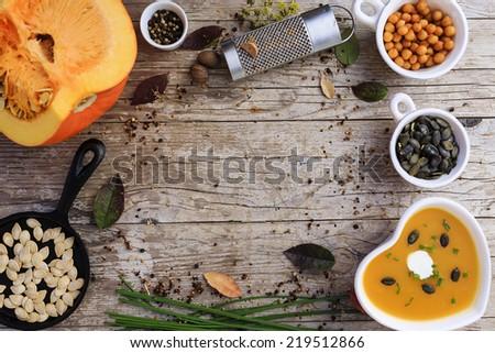 Pumpkin soup - Traditional seasonal pumpkin soup, space for text Сток-фото ©