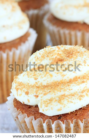 Pumpkin spice cupcakes frosted with cream cheese icing and sprinkled with brown sugar. Extreme shallow depth of field with selective focus on cupcake in front.