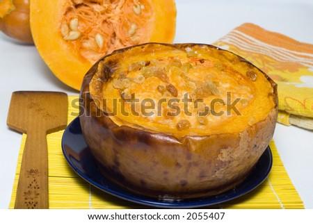 Pumpkin squash in a baked pumpkin
