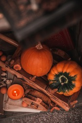 Pumpkin stil life with books and a candle. Autumn/Fall, Halloween or Thanksgiving concept.
