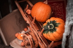 Pumpkin stil life with books and a candle in the background. Autumn/Fall, Halloween or Thanksgiving concept.