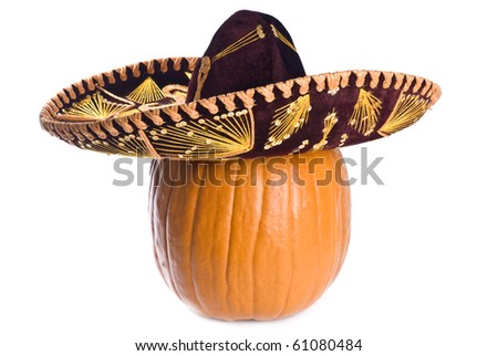 Pumpkin Wearing a Sombrero Isolated on White