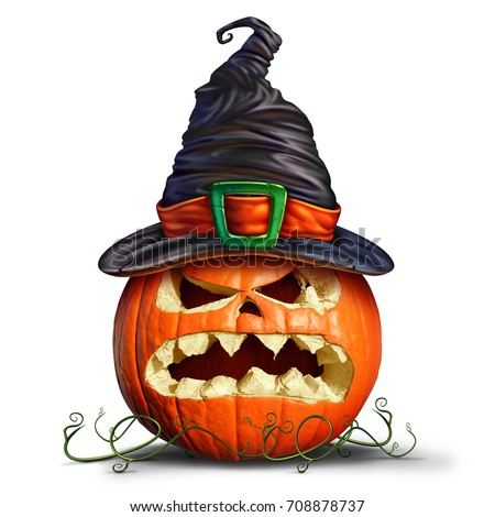 Pumpkin wearing a witch hat as an orange monster with a scary character on a white background as an autumn concept and symbol for a creepy halloween marketing with 3D illustration elements.