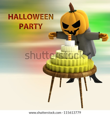 pumpkin witch with celebration cake on table with colorful background render illustration