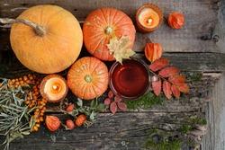pumpkins and cup of tea. cozy autumn composition, fall season. thanksgiving holiday, Halloween concept. autumn tea time.