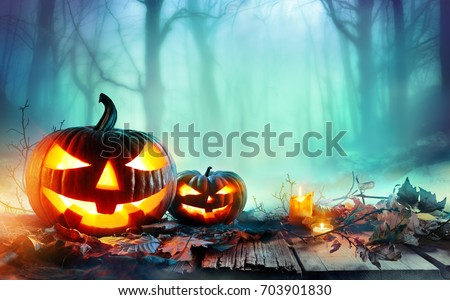 Pumpkins Burning In Forest At Night - Halloween Background #703901830