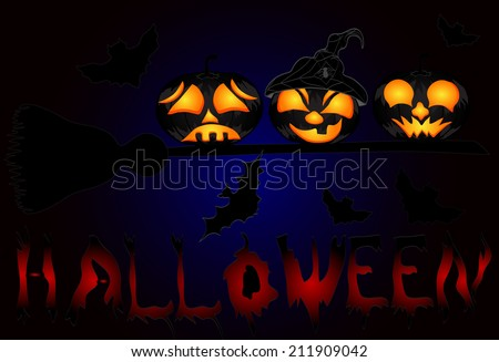 Pumpkins on a sweeper, a beautiful illustration to Halloween
