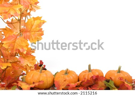 Pumpkins on white background with fall leaves frame - stock photo