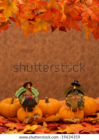 Pumpkins sitting together on leaves with a turkey sitting on one, pumpkin border