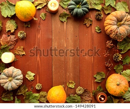 Pumpkins with candles.frame.image of halloween season.