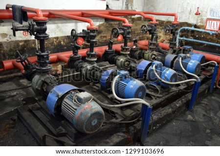 Pumps in the building of the pumping station