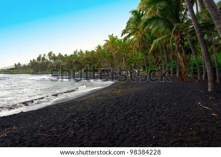 Punaluu Black Sand Beach, Maui, Hawaii