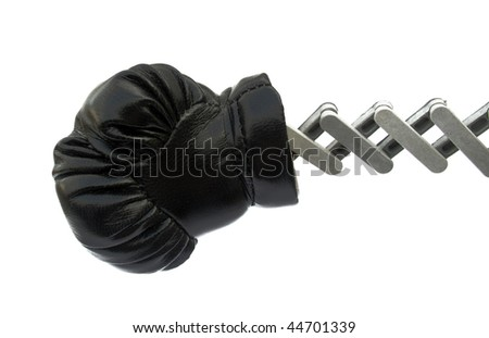 Punch by black boxing glove
