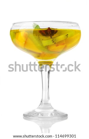 punch in glass, isolated on white