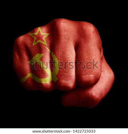 Punch of flag on black background. Country flags. Punch of soviet flag. Stok fotoğraf ©