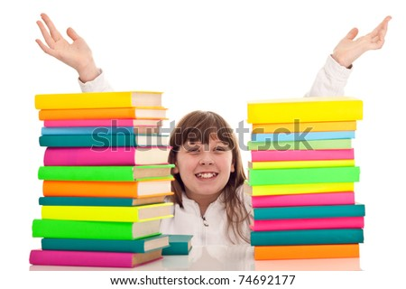 punctate girl with between two stacks of books, isolated on white