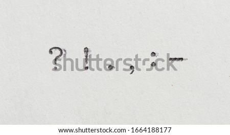 punctuation marks from typewriter. Vintage font on white paper  Foto stock ©