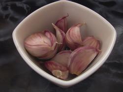 pungent garlic in a white porcelain bowl