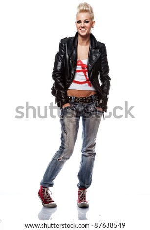 Punk girl in leather jacket smiling