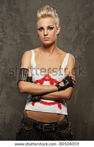 Punk girl standing