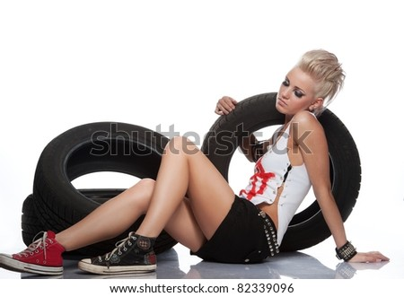 Punk girl with a tires.