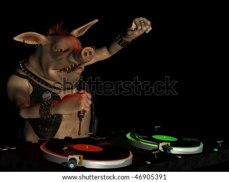 Punk Hog Dj With Attitude Spinning Records Turntables