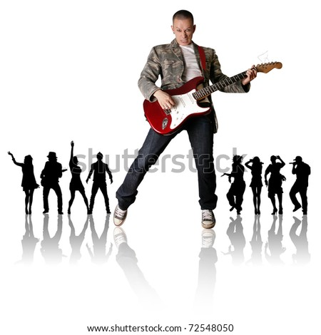 punk man with the guitar and black people silhouette