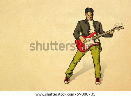 punk man with the guitar on beige old paper