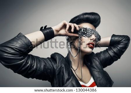 punk woman in creative sunglasses
