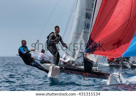 PUNTA ALA - 3 JUNE: teams competing on Formula 18 national catamaran race, on June 3 2016 in Punta Ala, Italy