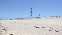 Punta Arena de La Ventana, BCS, Mexico - May 1, 2021: Lighthouse on the beach at the Sea of Cortes