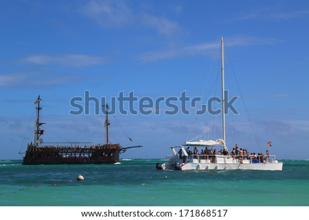 PUNTA CANA, DOMINICAN REPUBLIC - JANUARY 2: Pirate party boat and party yacht in Punta Cana on January 2, 2014. The Dominican Republic is the most visited destination in the Caribbean
