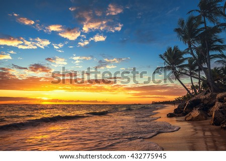 Punta Cana sunrise , Landscape of paradise tropical beach #432775945