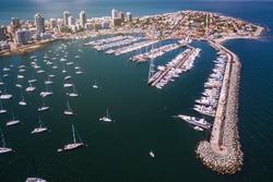 Punta del Este, Maldonado, Uruguay, aerial view of peninsula and marina of Punta del Este.