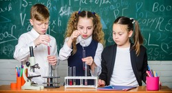 Pupils study chemistry in school. Kids enjoy chemical experiment. Chemical substance dissolves in another. Exploring is so exciting. Chemical reaction occurs when substance change into new substances.