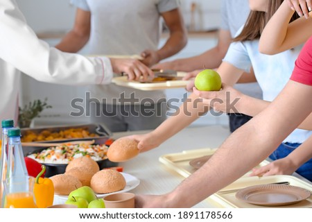 Pupils visiting school canteen to have lunch Photo stock ©