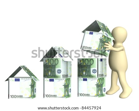 Puppet and houses from euro banknotes. Isolated over white