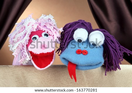 Puppet show on brown background Foto stock ©