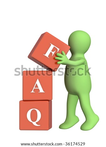 Puppet with FAQ symbol. Object over white