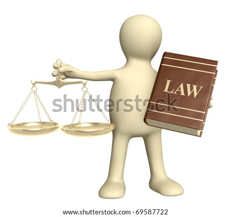 Puppet with gold scales and code of laws. Isolated over white