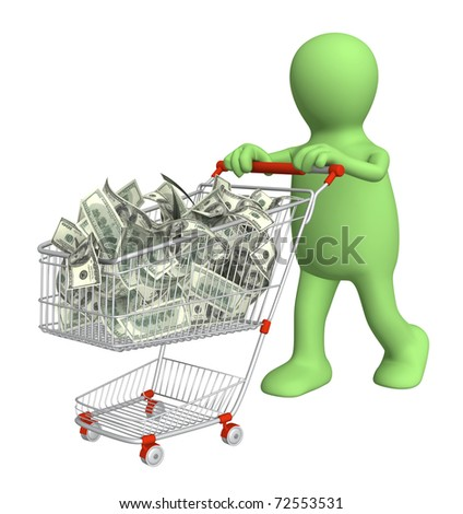 Puppet with shopping cart and dollars. Isolated over white