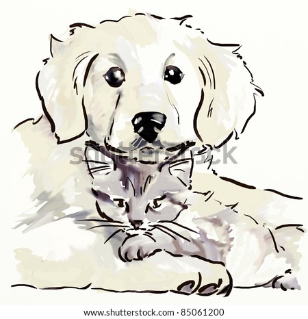 Puppy and kitten. Hand drawing sketch